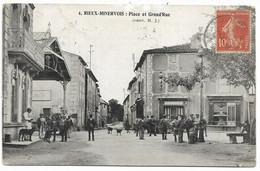 11-RIEUX-MINERVOIS- Place Et Grand'Rue...1908  Animé  (coin Pli) - Other Municipalities