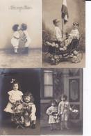 DC4383 - Ak 4 Karten Lot Kinder Der Erste Kuss Jungen Mädchen Fahne Blumen Geburtstag Kleine Kinder Geschwister - Children And Family Groups