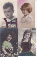 DC3133 - Ak 4 Karten Lot Kinder Portrait Kinder Junge Mädchen Mit Zöpfen Blumen Kleid - Gruppen Von Kindern Und Familien