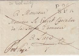 LAC. L'OURTHE. P96P/SPA. DE WALMIDY LE 16 AVRIL 1813. POUR LIEGE. (MERE QUI DEFEND SON FITROP JEUNE POUR LA CONSCRIPTION - 1792-1815: Départements Conquis