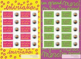 France 2005 - F3760Ab Et F3761Ab Deux Bloc Feuillet Personnalisés Invitation Et Merci Avec Logo Privé - Neuf - Personalized Stamps