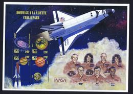 Mali Space 1996 Tribute To Challenger.  Large Sheet - Mali (1959-...)