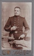 CDV  =   MILITAIR   FOTOGRAAF   G.HALLEUX - MERTENS - BERCHEM  RUE DU REMPART 240 - 2 SCANS - Antiche (ante 1900)