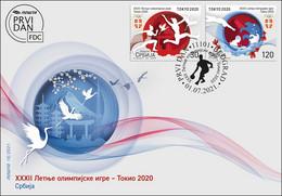 Serbia 2021 XXXII Summer Olympic Games Tokyo 2020 Japan Sports Athletics Swimming, FDC - Serbia