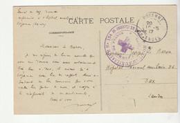 """Carte Poyanne, Château Avec Cachet """" Hôpital Auxiliaire N°134 Poyanne / Landes, Union De Femmes De France, 1917"""" - Covers & Documents"""