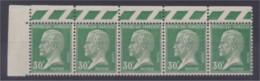 Pasteur Bloc De 5 Timbres N° 174 30c Vert Bord De Feuille Haut Neuf * Petites Adhérences - 1922-26 Pasteur