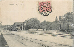 CPA 17 Charente Maritime Saintes Ligne De Paris Train Wagon Locomotive Chemin De Fer - Etat - Saintes