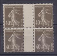 Semeuse N°193 40c Brun Olive Bloc De 4 Avec Interpanneau Neuf - 1906-38 Sower - Cameo
