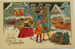 Weihnachten, Biedermeier, Disteln, Männer, Frauen, 1903, Prägekarte ♥ (10253) - Ohne Zuordnung