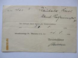 Duisburg Zeche Friedrich Thyssen Schacht 2/5 Kündigung Von 1930 (10424) - Fabbriche E Imprese