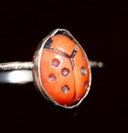 """Charmante Bague Argent 800 Poinçonné 19.3mm """"Coccinelle"""" Ladybug Ring - Anelli"""