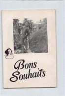 Tahiti - Nu Tahitien - Bons Souhaits (Format 12 Cm. X 8 Cm.) - Ed. CARTE PHOTO. - Polynésie Française