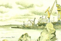 Port De Commerce De BREST  Aquarelle Originale De Robert LEPINE - Brest