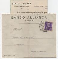 1935 Cover Banco Alliança Porto Para Povoa De Lanhoso Selo Carmona Perfurado (Inclui Documento Bancário) - Covers & Documents