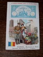 L37/72 CHROMO CHICOREE ARLATTE . LE PAPIER MONNAIE DANS LES DIVERS PAYS . ROUMANIE - Tea & Coffee Manufacturers