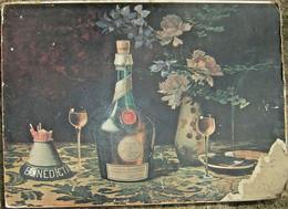 Publicité Ancienne Affiche Pub Benedictine Publicitaire 60cm Par 45cm Sur Carton - Plaques En Carton