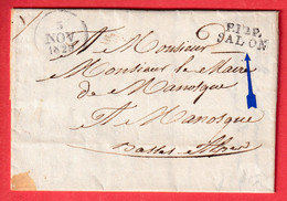 MARQUE P12P SALON DE PROVENCE BOUCHES DU RHONE 1829 MANOSQUE BASSES ALPES INDICE 11 TEXTE LE MAIRE DE SALON. - 1801-1848: Précurseurs XIX