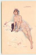 N°18013 - S. Meunier - Dans Le Demi-monde - Jeune Femme Légèrement Vêtue Sur Un Lit, Avec Un Chat Noir - Meunier, S.