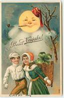 N°18035 - Carte Gaufrée - Prosit Neujahr - Couple Marchant Sous Un Clair De Lune Fumant La Pipe - Anno Nuovo