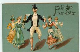N°18036 - Carte Gaufrée - Fröhliche Neues Jahr - Femmes Suivant Un Homme En Costume, Tenant Une Bouteille De Champagne - Anno Nuovo