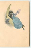 N°18047 - Jeune Femme Allongée Sur Un Croissant De Lune - Donne