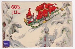 God Jul Christmas Noël 1911 CP Litho Suède Art Deco Aina Stenberg Lutin Luge Neige Sports D'hiver Dwarf Gnome A52-80 - Other