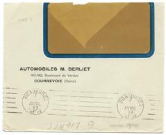 ENVELOPPE PORT PAYE 1933 COURBEVOIE / DATEUR INVERSE / AUTOMOBILES BERLIET - 1921-1960: Periodo Moderno