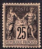 A082 YT 97 Sage II 25c Noir/rose Foncé N* - 1876-1898 Sage (Type II)