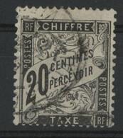 TIMBRE TAXE N° 17 20 Ct Noir Cote 150 € Oblitéré TB (vendu à 6 % De La Cote) - 1859-1955 Oblitérés