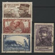 """N° 454 à 457 """"Oeuvres De Guerre"""" Cote 30 € Oblitérés TB (vendus à 10 % De La Cote) - Used Stamps"""