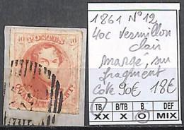 D - [846738]TB//O/Used-c:90e-Belgique 1861 - N° 12, 40c Vermillon Clair Margé, Sur Fragment, Familles Royales, Rois - 1858-1862 Medaglioni (9/12)
