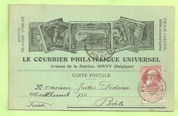 74 Op Kaart LE COURRIER PHILATELIQUE UNIVERSAL Met Stempel GOUVY (2294) - 1905 Barba Grossa