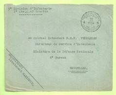 """MIL POST WO 2 MOBILISATIE Brief (devant) """"SM"""" """"PMB/ BLP / 4 / 16/9/1939"""" + """"5°DIVISION D'INFANTERIE..."""" (B9624) - Cartas"""