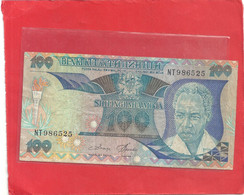 BENKI KUU YA TANZANIA . 100 SHILINGI  . N-D ( 1985 )   N° NT 986525 . 2 CSANES - Tanzania