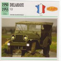 Delahaye Type VLR Ou 182  -  1950  -  Fiche Technique/Carte De Collection - Turismo