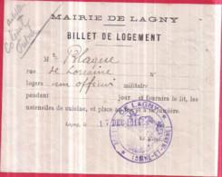 Dépt 77 - LAGNY-SUR-MARNE - Guerre 1914-1918 - RARE Billet De Logement Pour Un OFFICIER, Le 17 Déc. 1914 Chez M. BLAQUE - Lagny Sur Marne