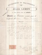 77 LAGNY-SUR-MARNE - Entreprise De Maçonnerie Jules LEROY, 11 Rue Jeanne D'Arc - Mémoire Des Travaux 1920 TIMBRE FISCAL - Lagny Sur Marne