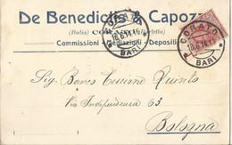 DE BENEDICTI & CAPOZZI CORATO COMMISSIONI MEDIAZIONI DEPOSITI  VIAGGIATA  1914 (1200) - Pubblicitari