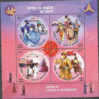 INDIA, 2020, MNH, HEALTH, COVID, COVID-19 WARRIORS, PLANES, TRAINS, SHIPS, MEDICAL WORKERS, SHEETLET - Andere