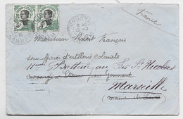 INDOCHINE 5C PAIRE LETTRE COVER TOURANE 12.10.1913 ANNAM POUR MARSEILLE - Covers & Documents