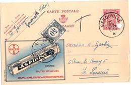 Publibel - 739 - Aspirine BAYER - Géronville - Virton Vers La Louvière En 1948 - Taxé à 50 Centimes. - Werbepostkarten