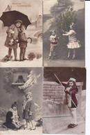 DC5581 - Ak Kinder 4 Karten Lot Kleines Mädchen Neujahrsgrüße Mädchen Im Kleid Winter Schnee Pfingsten - Sonstige