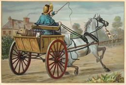 Ancienne Chromo Fin 19ème, Grand Format, N° 1, Fermière Avec Charrette Et Cochon, Cheval Qui Prend Peur - Other