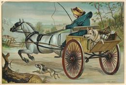 Ancienne Chromo Fin 19ème, Grand Format, N° 2, Fermière Avec Charrette Et Cochon, Cheval Qui S'emballe - Other