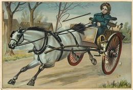Ancienne Chromo Fin 19ème, Grand Format, N° 3, Fermière Avec Charrette Et Cochon, Cheval Qui S'emballe - Other