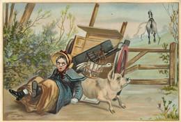 Ancienne Chromo Fin 19ème, Grand Format, N° 4, Fermière Avec Charrette Et Cochon, Charrette Renversée - Other