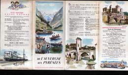 Depliant Touristique SNCF, De L'Auvergne Aux Pyrennees, Illustration Couverture Signee - Dépliants Turistici