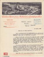 Lettre à Entête De La Grande Brasserie Et Malterie De Champigneulles  (Vue De L'usine) En 1936 - Invoices