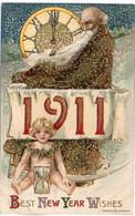SCHMUCKER - Best New Year Wishes - Année 1911 - Gaufrée Rehaussée Or - Horloge (Minuit) (7417 ASO) - 1900-1949