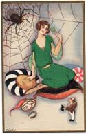 CHIOSTRI - Femme Et Araignée - Porte Bonhuer (Trèfle à 4 Feuilles Et 13)   (7420 ASO) - Chiostri, Carlo